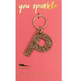 Lucky Feather P Glitter Keychain