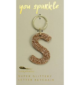 Lucky Feather S Glitter Keychain