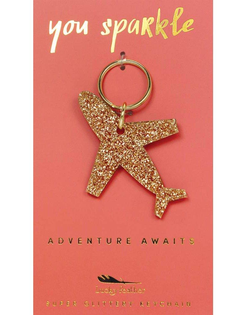 Lucky Feather Airplaine Glitter Keychain