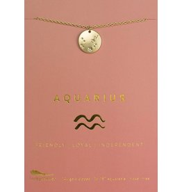 Lucky Feather Aquarius - Gold Necklace
