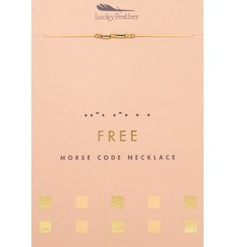 Lucky Feather Morse Code Necklace, Gold, Free