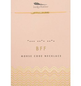 Lucky Feather Morse Code Necklace, Gold, Bff
