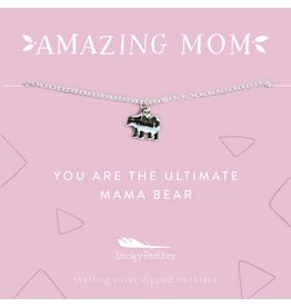 Lucky Feather Mom Necklace - You Are the Ultimate Mama Bear Silver