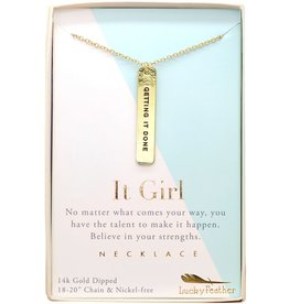 Lucky Feather Strong and Sassy - Boxed - Gold Necklace - Getting it