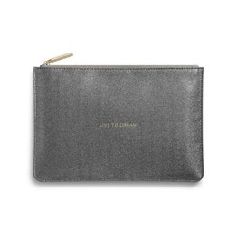 Katie Loxton Perfect Pouch - Live To Dream - Shiny Charcoal
