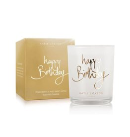 Katie Loxton Happy birthday -  Pomegranate and sweet apple - small metallic gold written word candle
