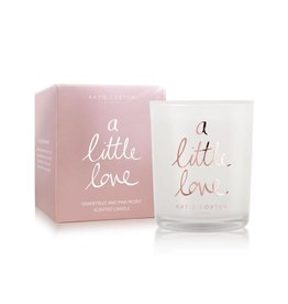 Katie Loxton a little love - Grapefruit and pink peony - small metallic rose gold written word candle