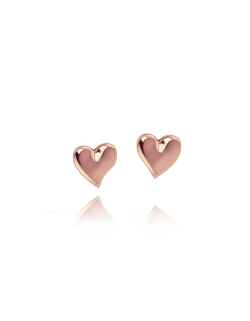 Katie Loxton Mila Heart Stud Earrings, Rose Gold