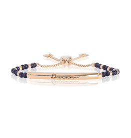 Katie Loxton SIGNATURE STONES - DREAM Engraved Yellow Gold Bar with Blue Sandstone Stones, Bracelet