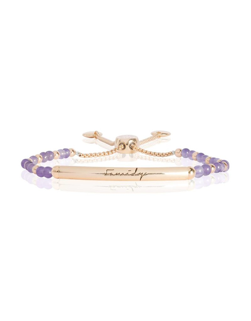 Katie Loxton SIGNATURE STONES - FAMILY Engraved Yellow Gold Bar with Amethyst Stones, Bracelet