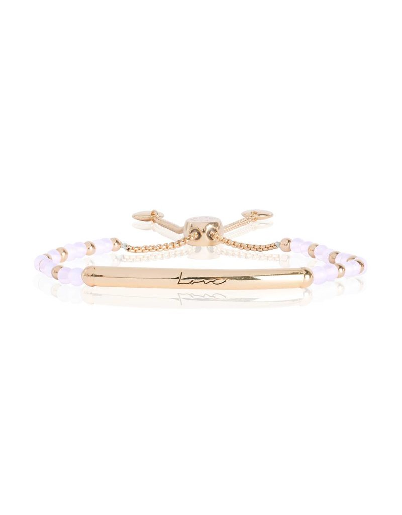 Katie Loxton SIGNATURE STONES - LOVE Engraved Yellow Gold Bar with Rose Quartz Stones, Bracelet