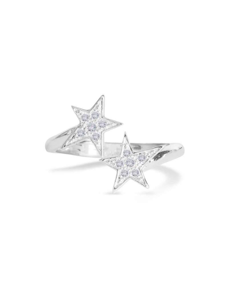 Katie Loxton SEEING STARS - Silver Pave Star Wrap Ring