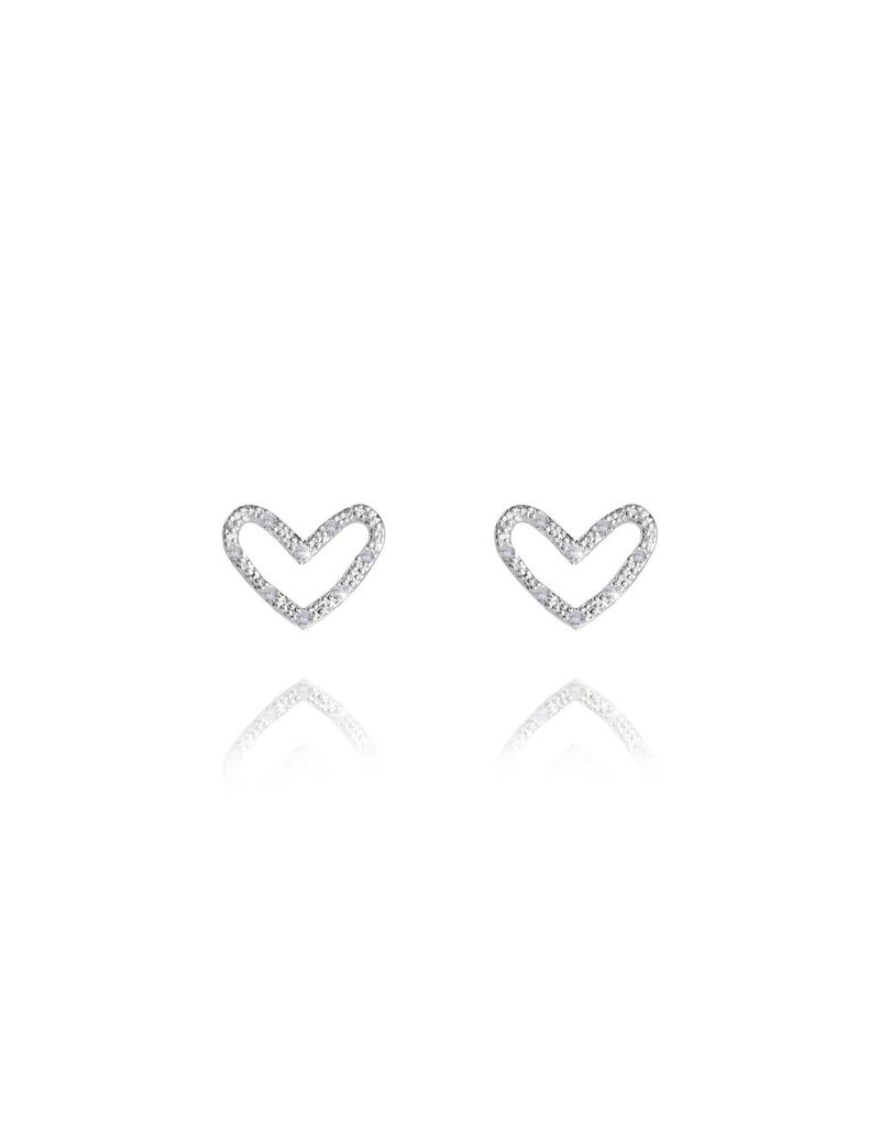 Katie Loxton Thea Heart Silver Pave Earrings