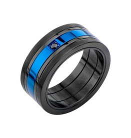 INOX Matte Black and Blue Plated w/ Black CZ Ring