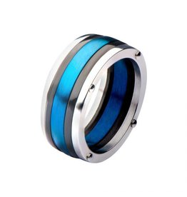INOX Steel Black and Blue Plated Polished Ring