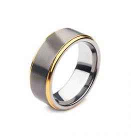 INOX Gun Metal Plated with Gold Plated Edge Steel Ring
