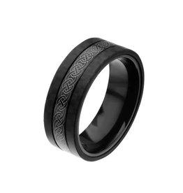 INOX Center Celtic Design with Solid Carbon Fiber Ring