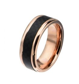 INOX Rose Gold Plated with Carbon Fiber Center Ring