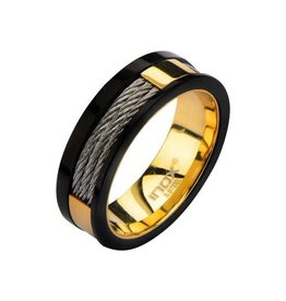 INOX Plated Gold Inner Ring with Black Line & Inlayed Cables
