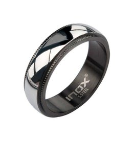 INOX Steel and Black Plated Plain Ring