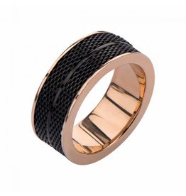 INOX Black Plated and Rose Gold Mesh Design Ring