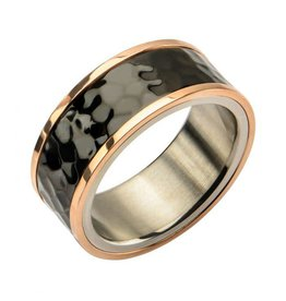 INOX Steel Tri-Tone Hammered Finish Ring