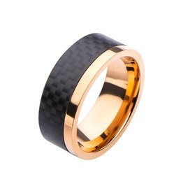 INOX Hammered Black Ring, Rose Gold Accent