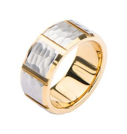 INOX Two Tone Hammered Ring
