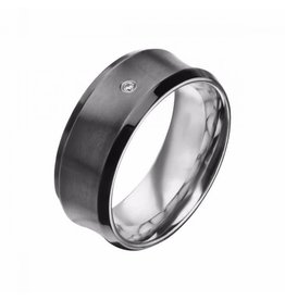 INOX Black Plated Gun Metal Finished with CZ Ring