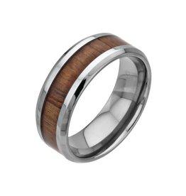 INOX Wood Inlayed Titanium Ring