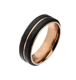 INOX Double Carbon Fiber Rose Gold Ring
