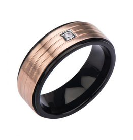 INOX Black Steel with Clear Gem 3 Lines of Rose Gold