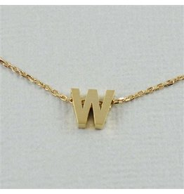 Cool and Interesting Small Gold Block Initial Necklace, W