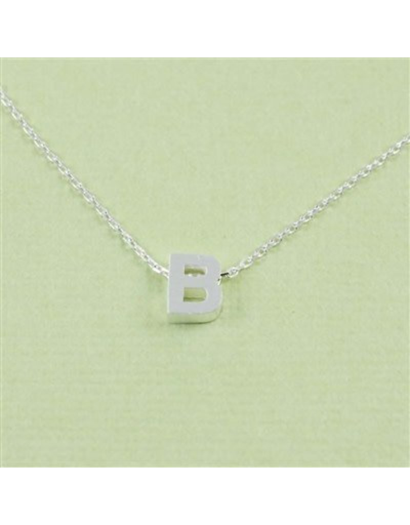 Cool and Interesting Small Silver Block Initial Necklace, B
