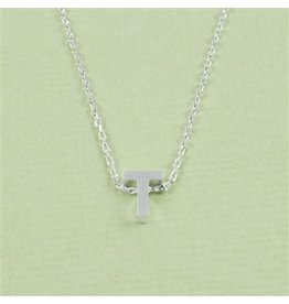 Cool and Interesting Small Silver Block Initial Necklace, T