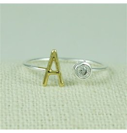 Cool and Interesting Two Tone CZ Initial Ring, A