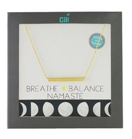 Cool and Interesting Gold Breathe Balance Namaste Message Bar Necklace