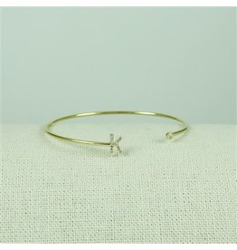 Cool and Interesting Gold Lower Case CZ Initial Open Bangle, K