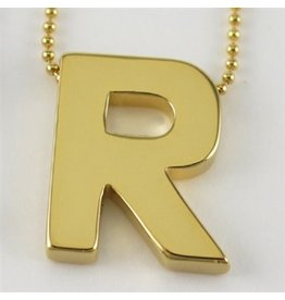 Cool and Interesting Large Gold Block Initial Necklace, R