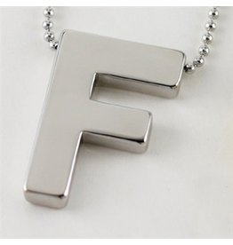 Cool and Interesting Large Silver Block Initial Necklace, F