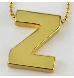 Cool and Interesting Large Gold Block Initial Necklace, Z