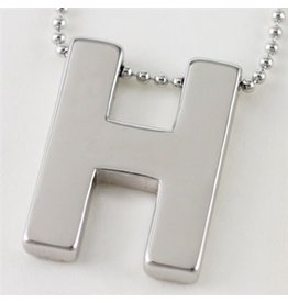 Cool and Interesting Large Silver Block Initial Necklace, H