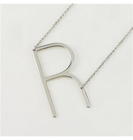 Cool and Interesting Silver Sideways Initial Necklace -  R