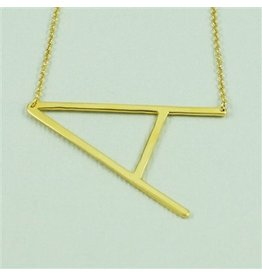 Cool and Interesting Gold Sideways Initial Necklace - A