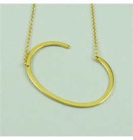 Cool and Interesting Gold Sideways Initial Necklace - C
