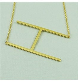 Cool and Interesting Gold Sideways Initial Necklace - H