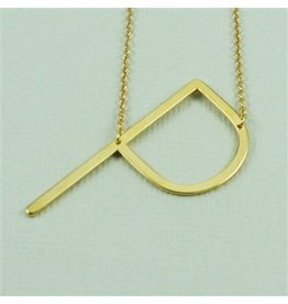 Cool and Interesting Gold Sideways Initial Necklace - P