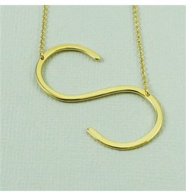 Cool and Interesting Gold Sideways Initial Necklace - S