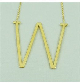 Cool and Interesting Gold Sideways Initial Necklace - W