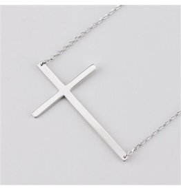 Cool and Interesting Silver Large Sideways Cross Necklace